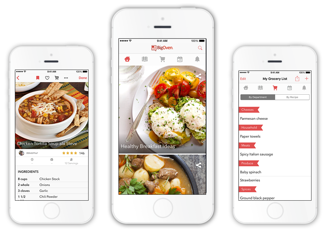 Free recipe grocery list and meal planning apps bigoven bigoven is available on iphone forumfinder